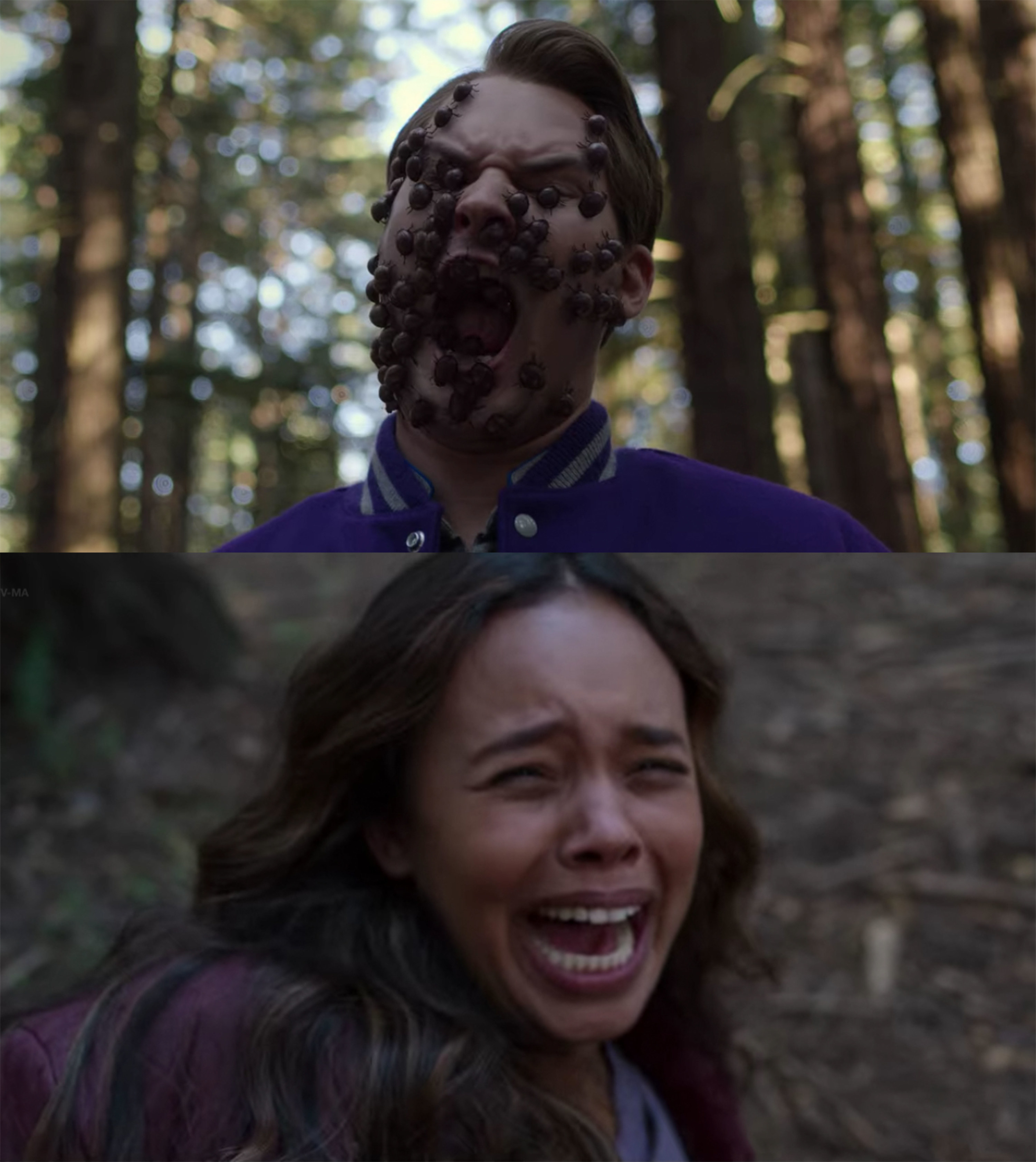 Bryce's face gets consumed by beetles, Jessica screams