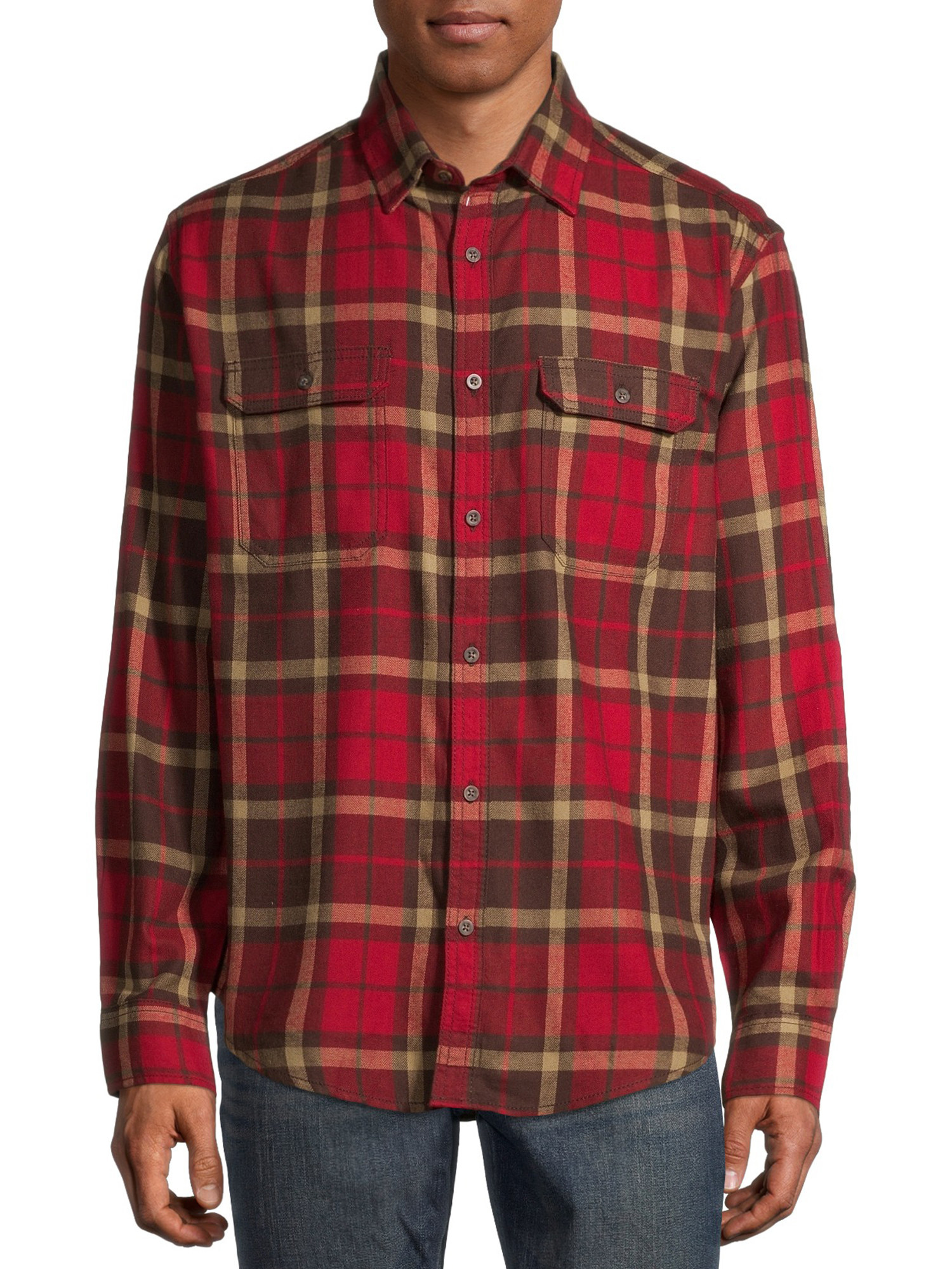 person in a red flannel shirt and jeans