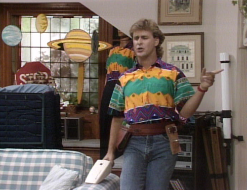 Joey from Full House in a zigzag pattern '80s style polo