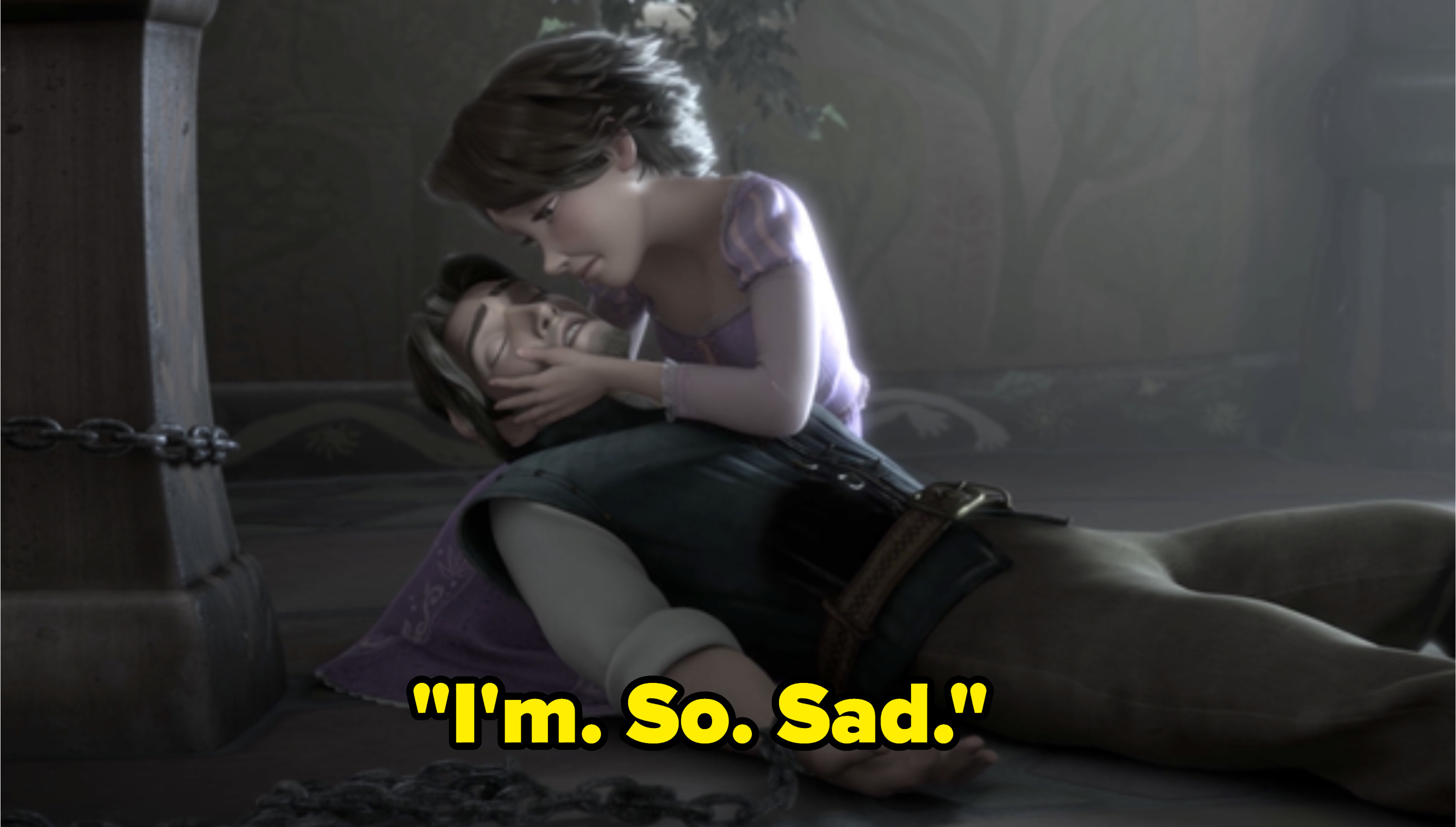 "Flynn ""dying"" in Tangled with the caption ""I'm So Sad"""