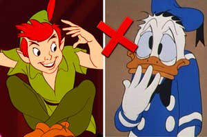 Peter Pan on the left and Donald Duck on the right with a red X next to him