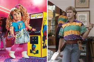 the new '80s American Girl doll Courtney at an arcade, and Uncle Joey from Full House in a very '80s outfit