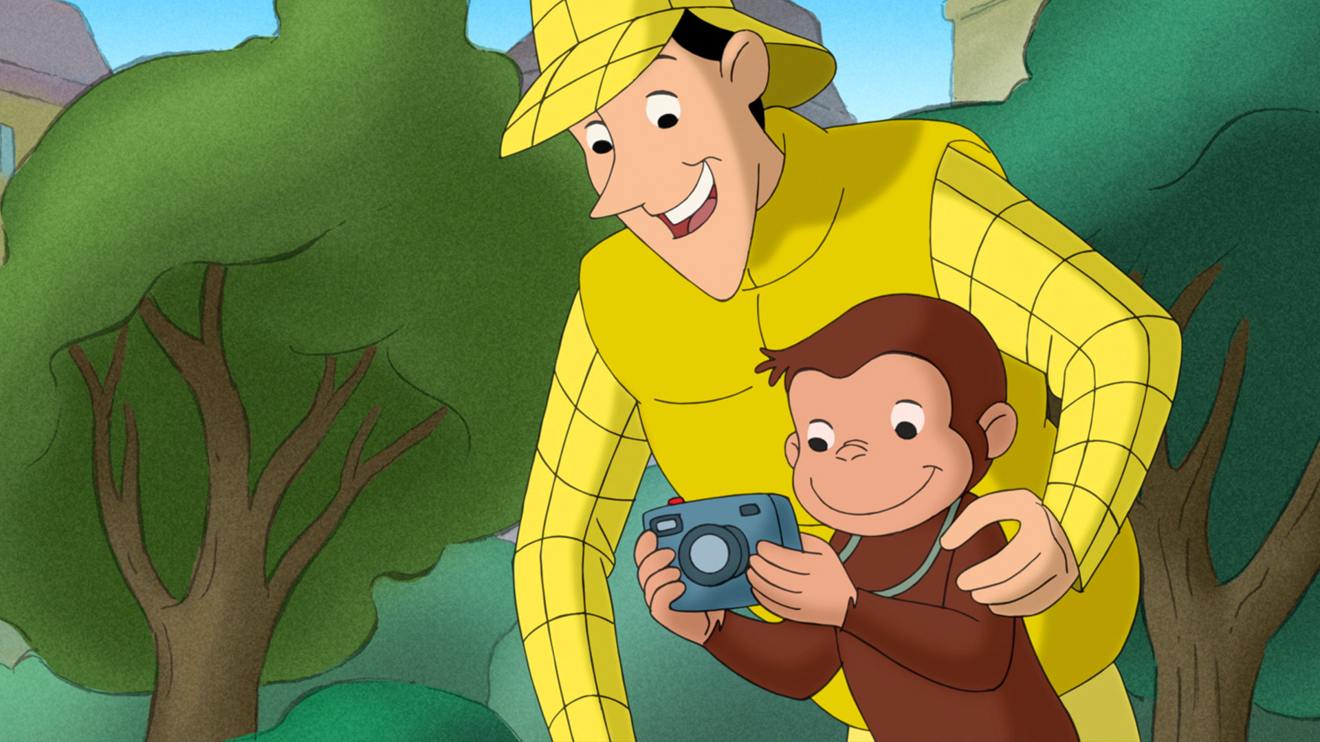 curious george looking into a camera with the man in yellow