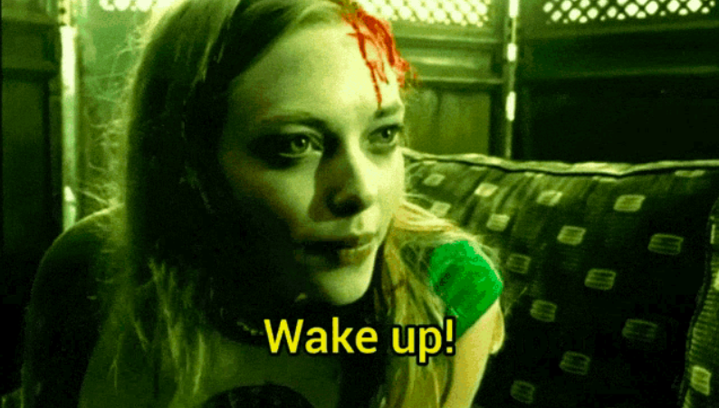 """Lilly's ghost with a bloody head wound, tells Duncan: """"Wake up!"""""""
