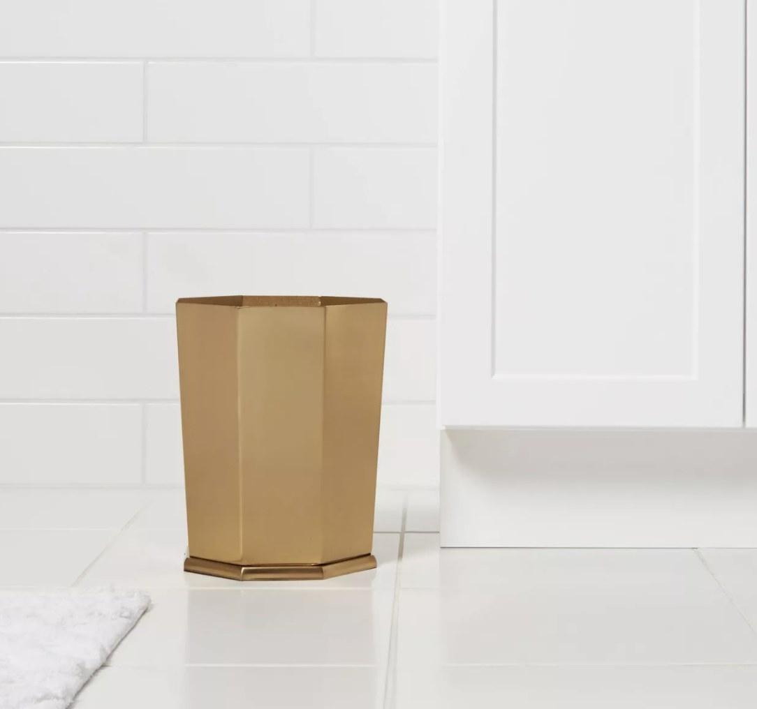 Gold solid faceted wastebasket
