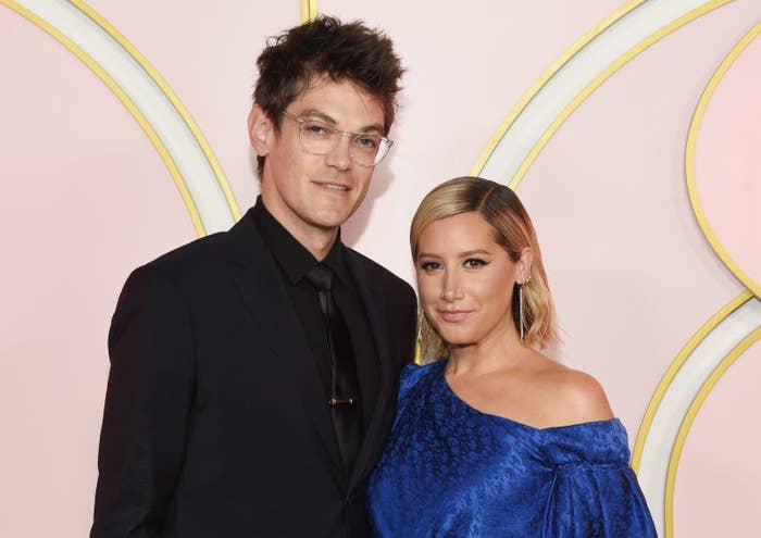 Christopher French and Ashley Tisdale posing together at a Hollywood event