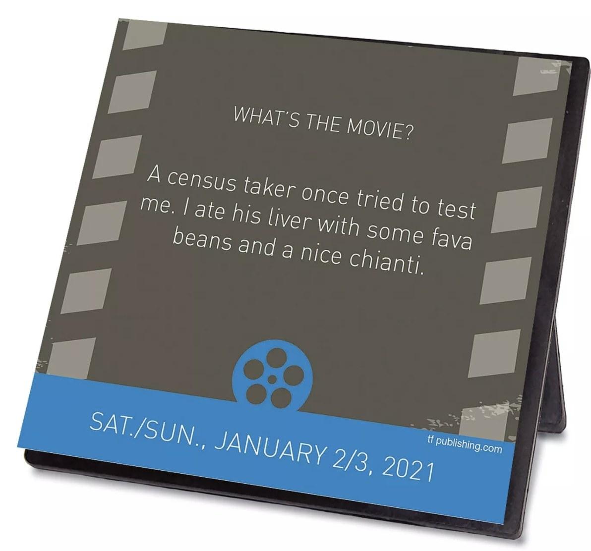 2021 desk block movie trivia calendar