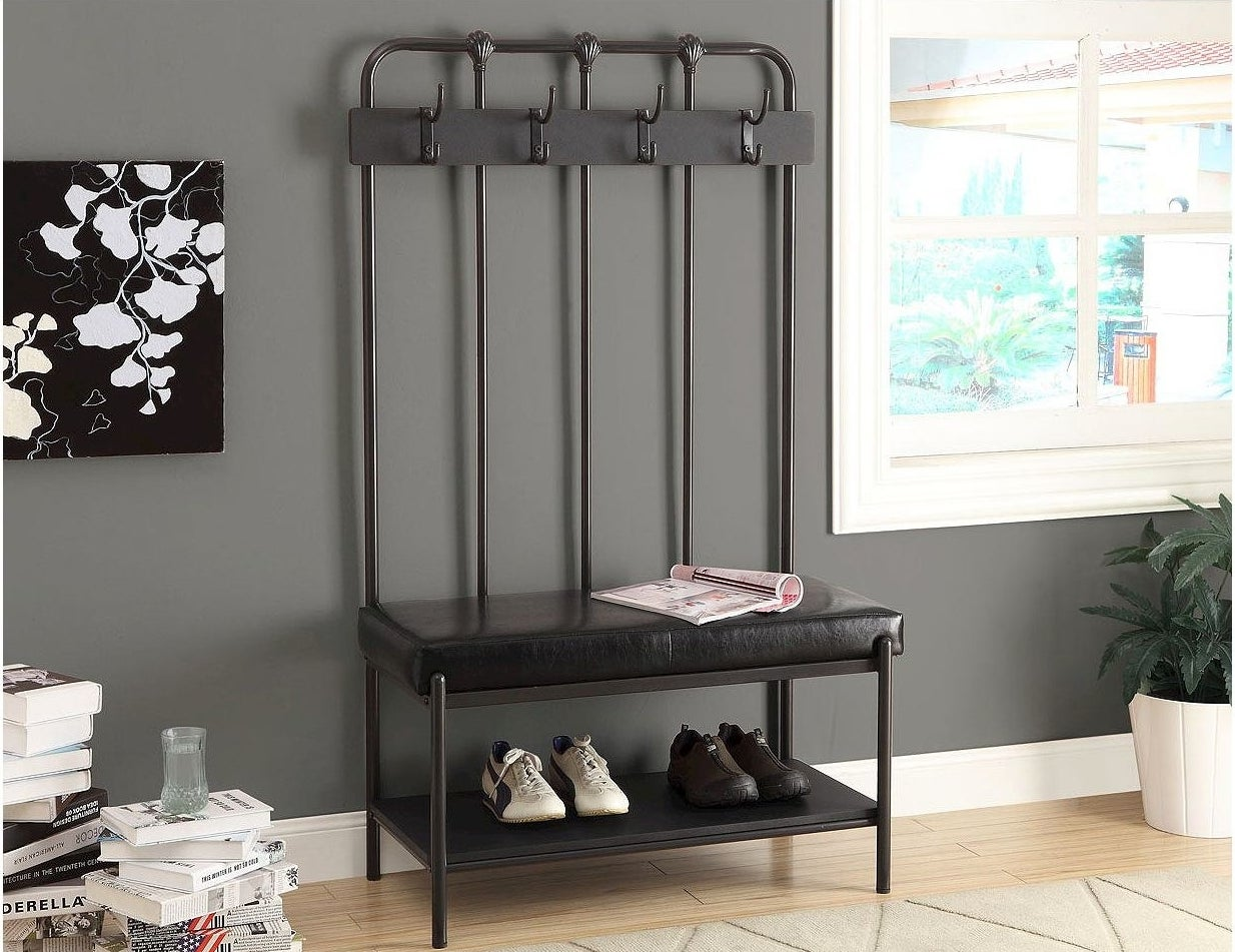 The entryway bench with coat rack