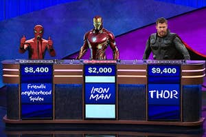 Spider-Man, Iron Man, and Thor on Jeopardy
