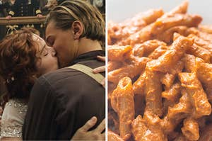 Jack and Rose from Titanic kissing on the left, and some penne pasta with vodka sauce on the left