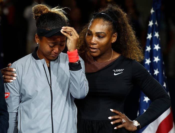 Serena Williams comforting Naomi Osaka after her win at the 2018 US Open.