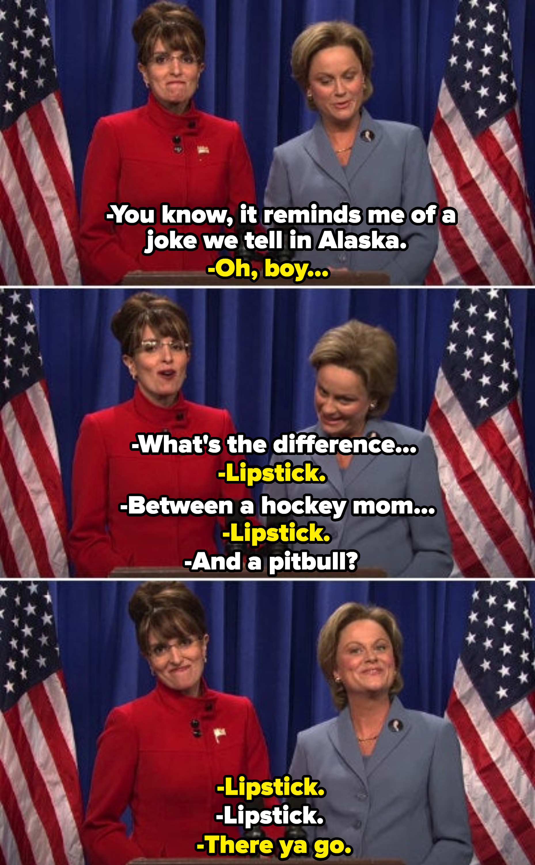 Tina Fey as Sarah Palin telling a joke, asking the difference between a hockey mom and a pitbull