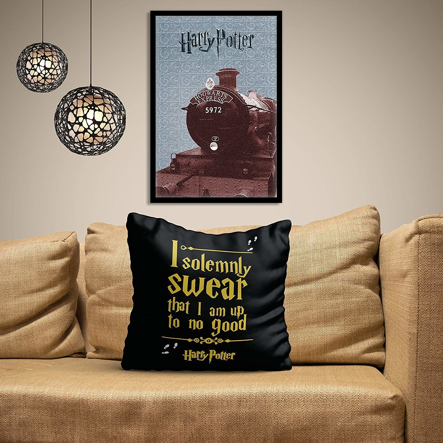 """A black satin cushion which reads, """"I solemnly swear that I am up to no good."""""""