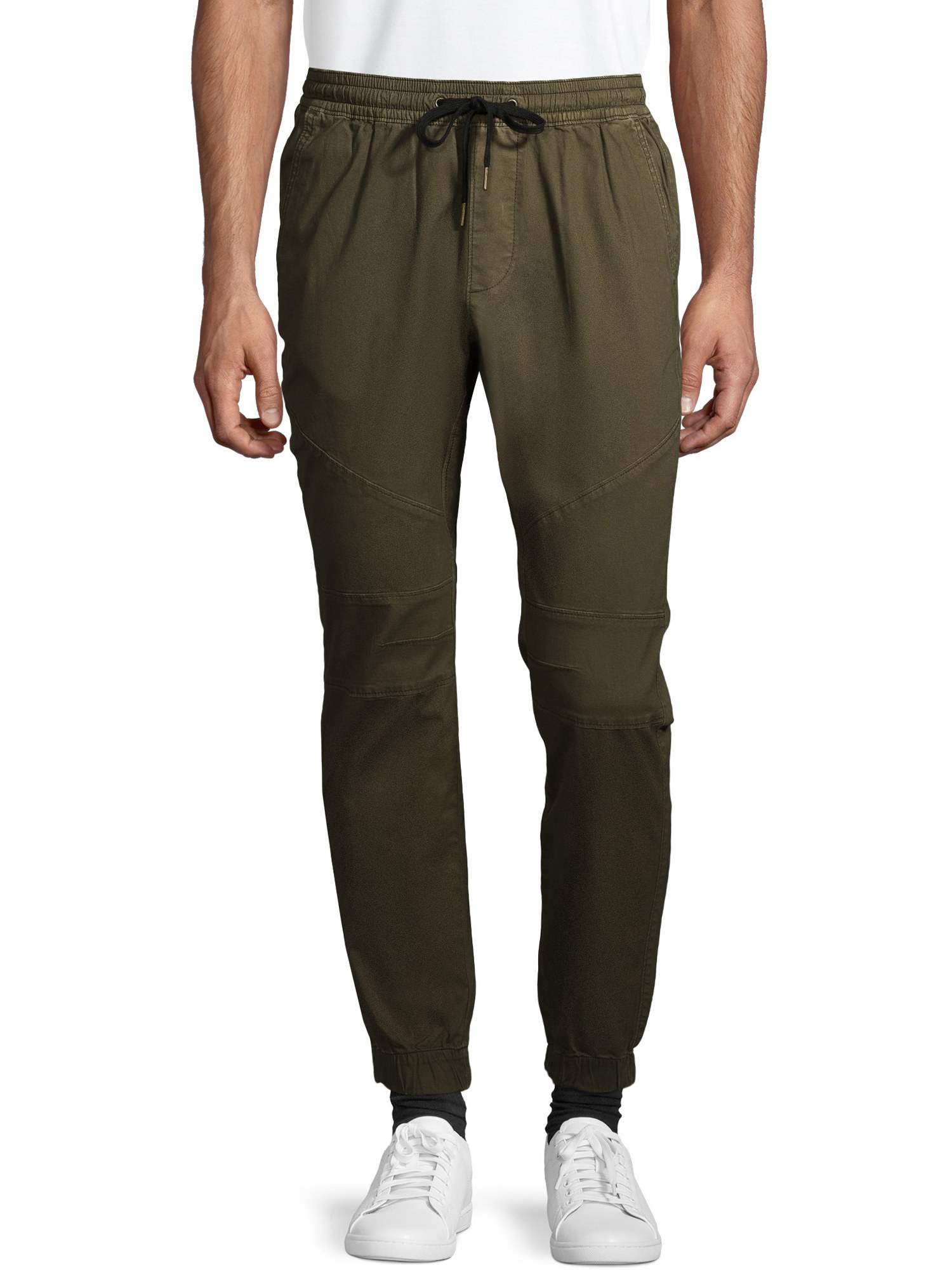 person wearing olive green jogger pants