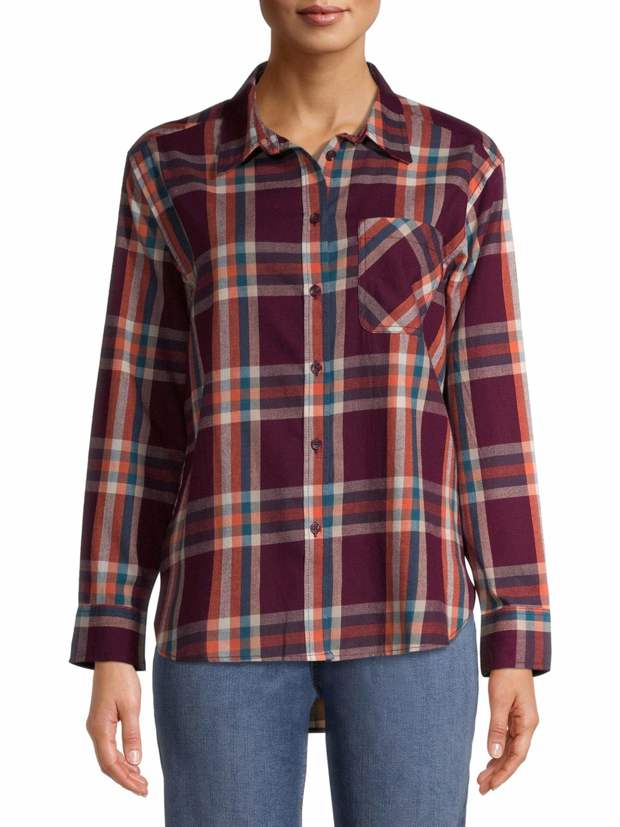 a model in a flannel shirt