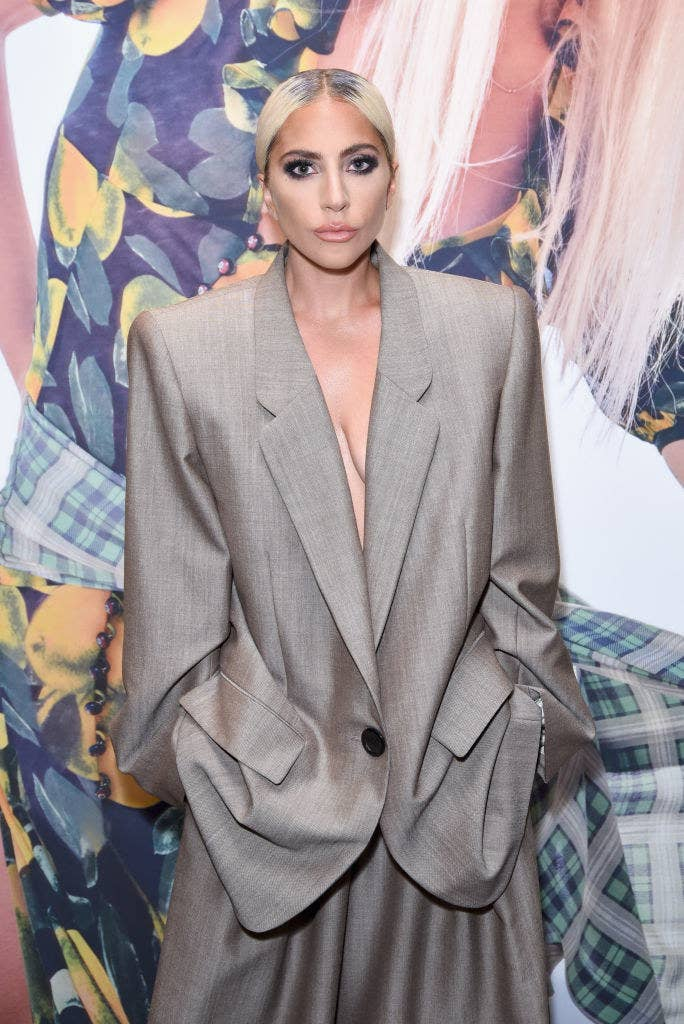 Lady Gaga wearing an oversized suit