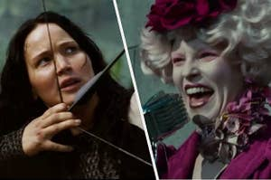 Katniss on the left holding a bow and arrow, and Effie on he right talking into a microphone