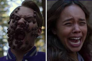Jessica screaming as Bryce's dead face is covered with bugs on 13 Reasons Why