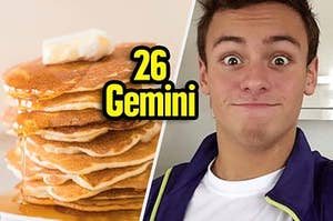 Tom Daley next to a plate of pancakes
