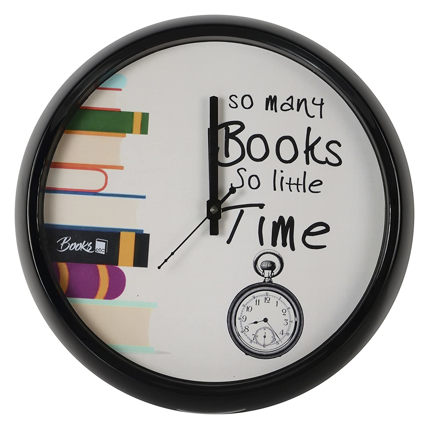"""A wall clock that has a book print and reads, """"So many books, so little time."""""""
