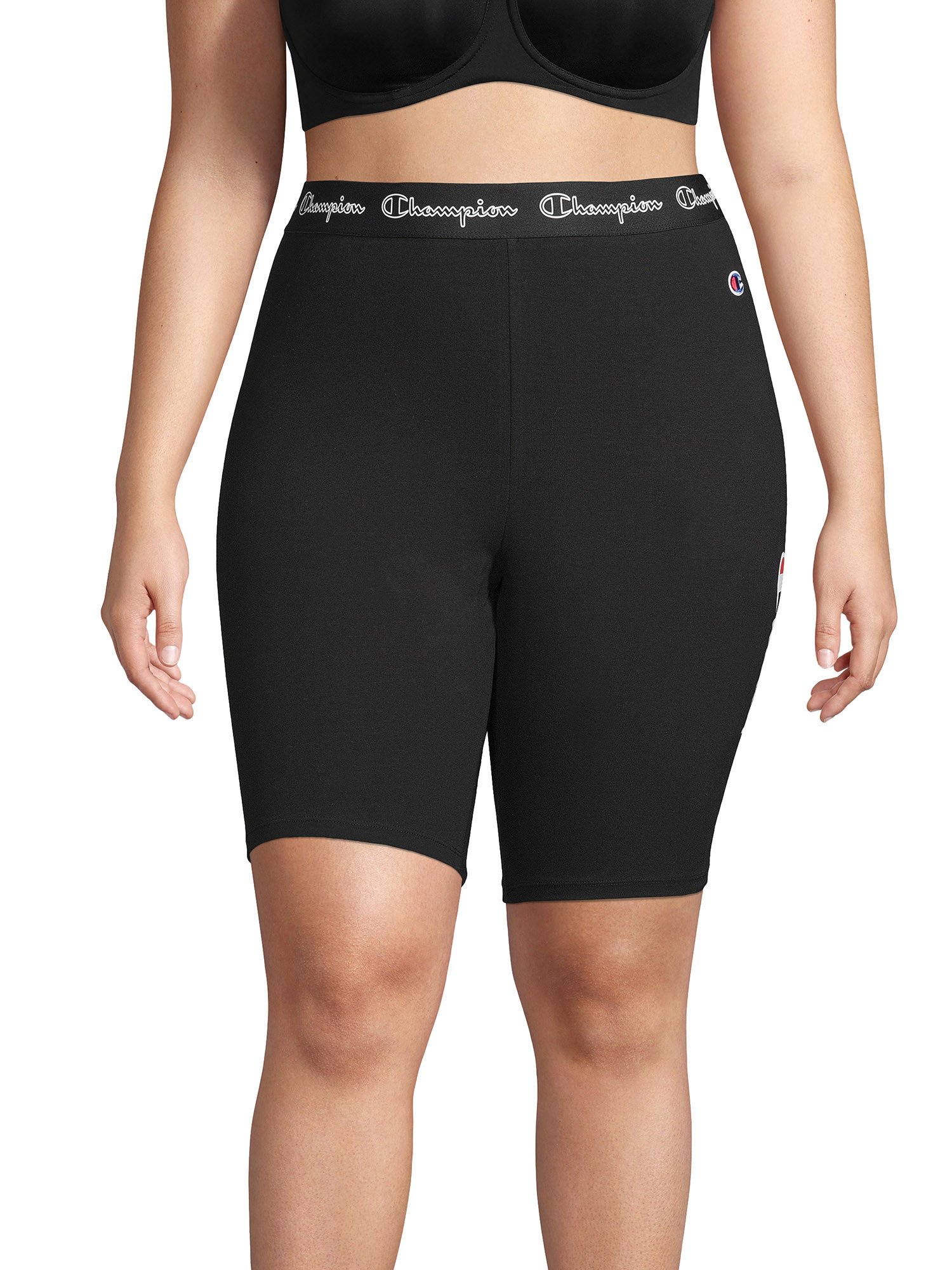person wearing black bike shorts