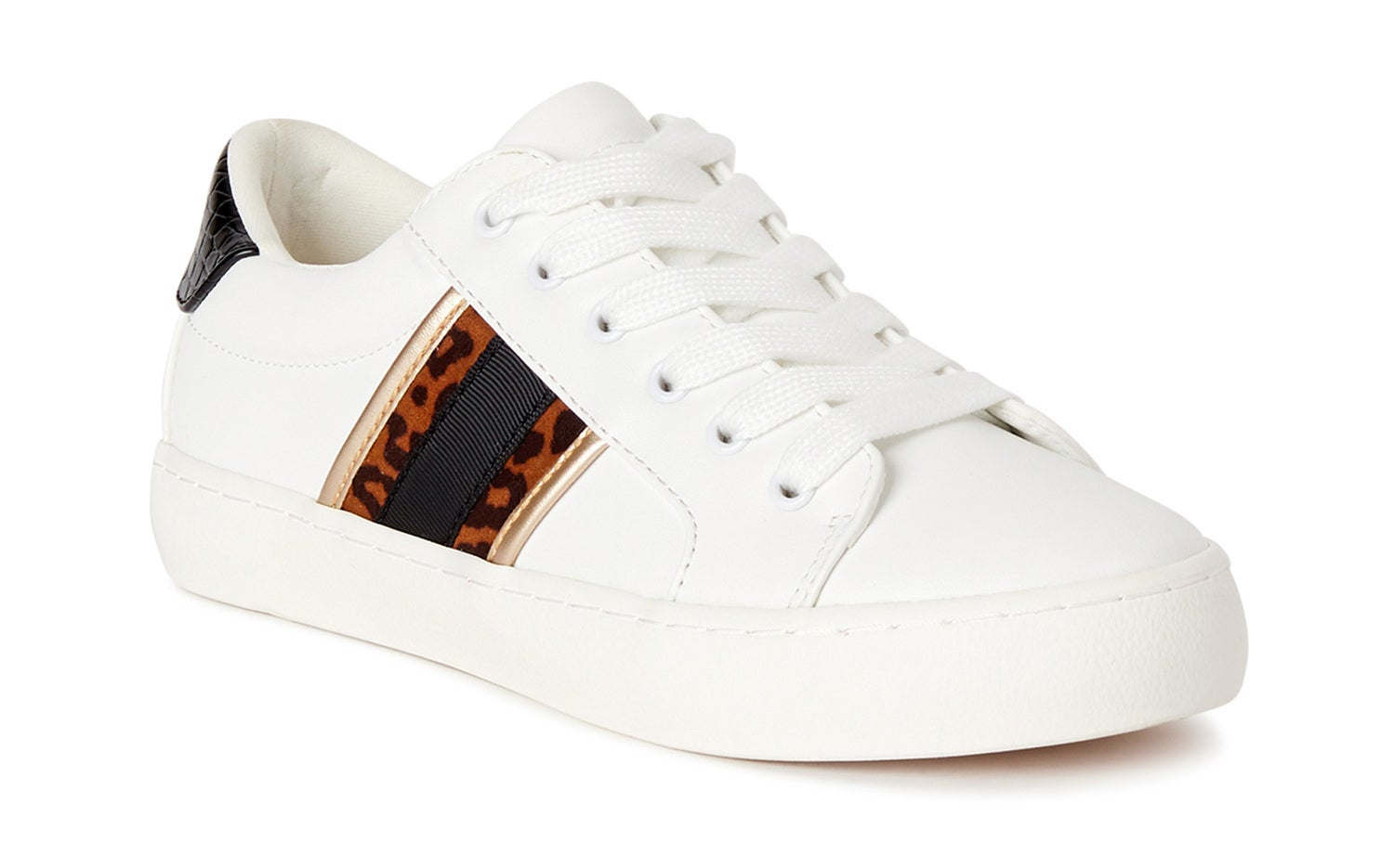 white sneaker with a black and leopard print strip