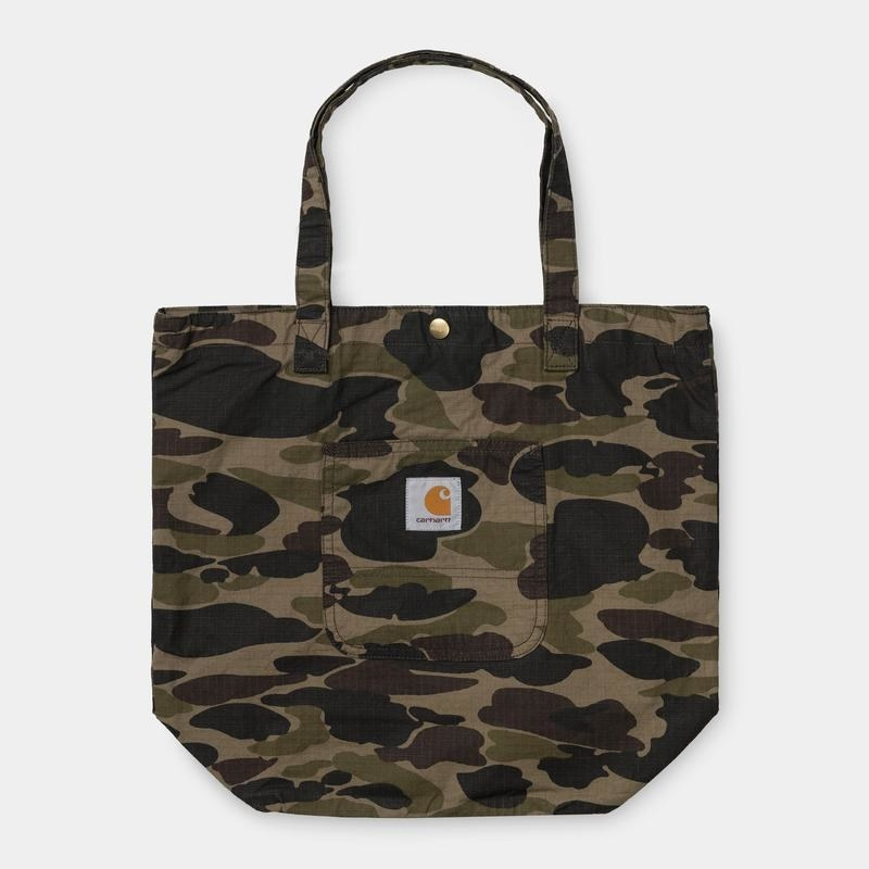 Product photo showing Carhartt WIP tote bag in camo