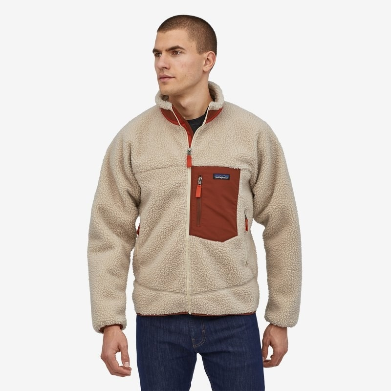 Model wearing Patagonia classic retro zip fleece