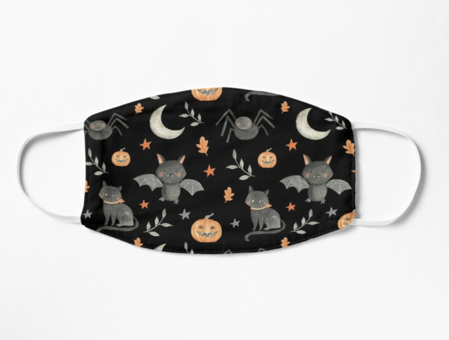 Black mask with cartoon bats, cats, spiders, pumpkins, moons, and leaves