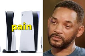 "The PS5 with the caption ""pain"" next to Will Smith with a pained expression"