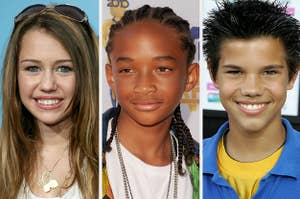 Miley Cyrus, Jaden Smith, and Taylor Lautner circa the early-to-mid 2000s