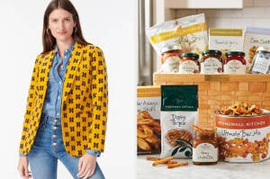On the left, a model in a yellow butterfly print blazer. On the right, a snack gift basket