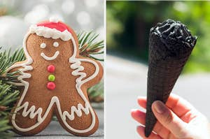 On the left, a gingerbread man, and on the right, someone holds a charcoal ice cream cone