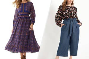 to the left: a model in a long blue dress, to the right: a model in paper bag jeans and a floral top