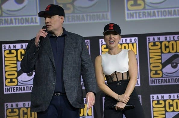 Kevin Feige and Scarlett Johansson at Comic-Con in 2019