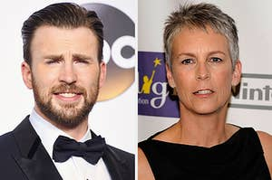 Jamie Lee Curtis and Chris Evans looking surprised