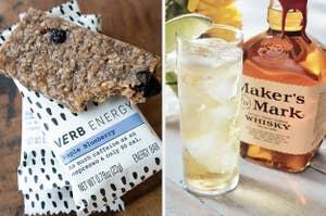 left, energy bar, right, whisky