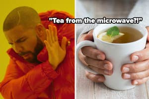 Drake putting his hand up to tea from the microwave