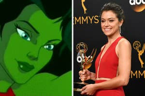 the cartoon She-Hulk and Tatiana Maslany holding an Emmy