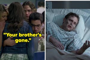 Toby collapsing into his friends' arms after J.T. dies on