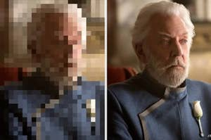 A pixelated image next to a clear photo of President Snow
