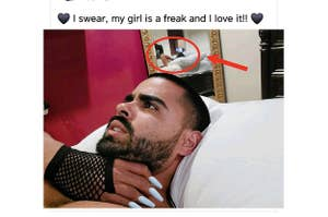 A man lying in bed with a hand on his throat with the caption