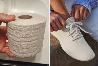 (left) Unbleached toilet paper (right) White Allbirds