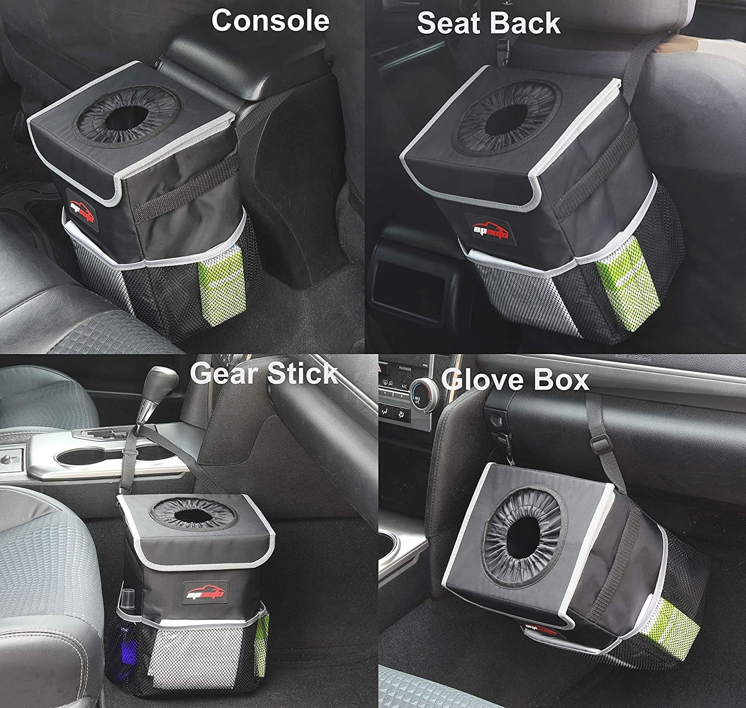 Four pictures showing a small fabric trash can hanging from a car console, a headrest, a gear stick and a glove box