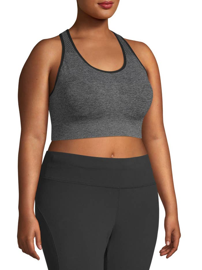 Model wears the gray bra