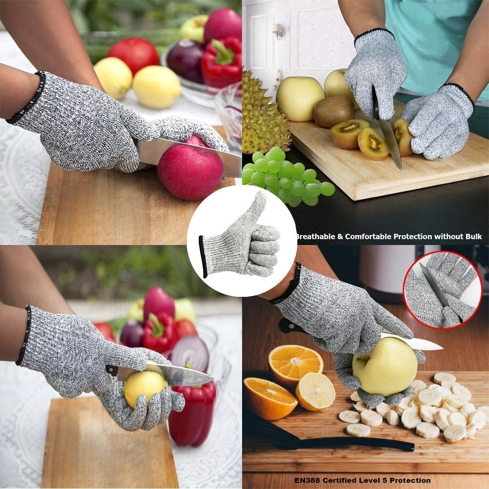 A four image grid of a person cutting different fruits and vegetable while wearing the cut-proof gloves.
