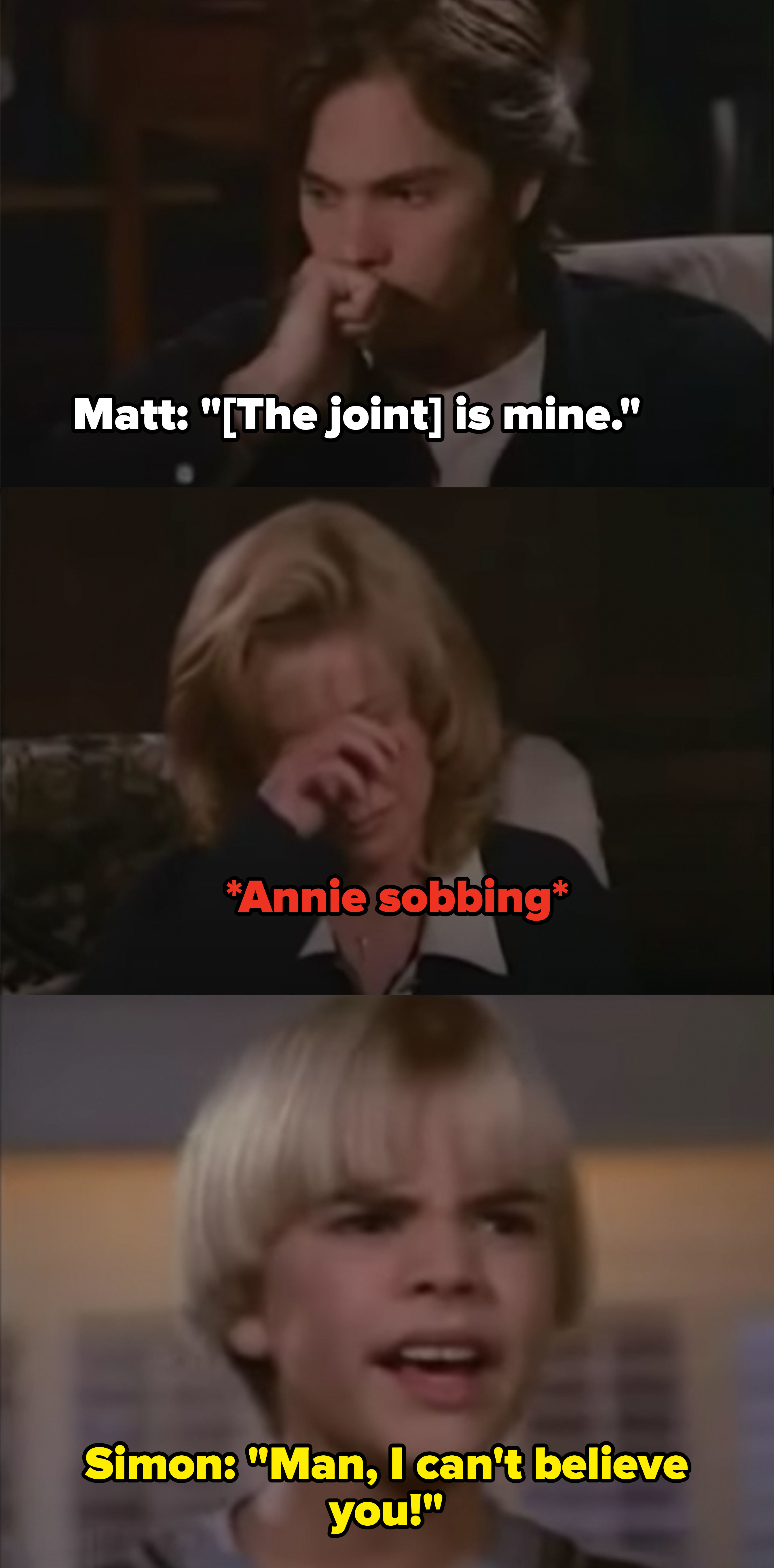 """7th Heaven"" scene where Matt gets caught with a joint and the family is devastated"