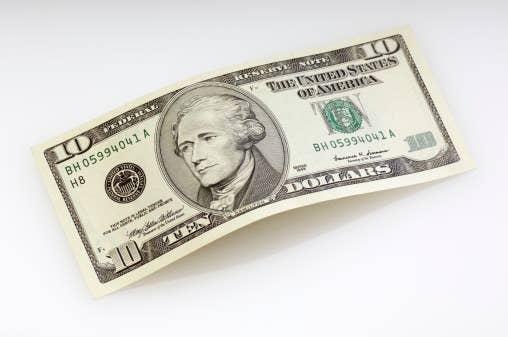 a ten dollar bill