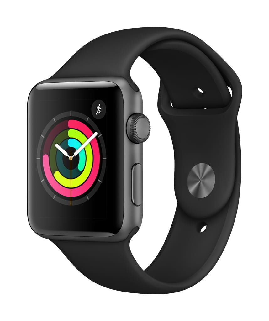 a black apple watch with a black band