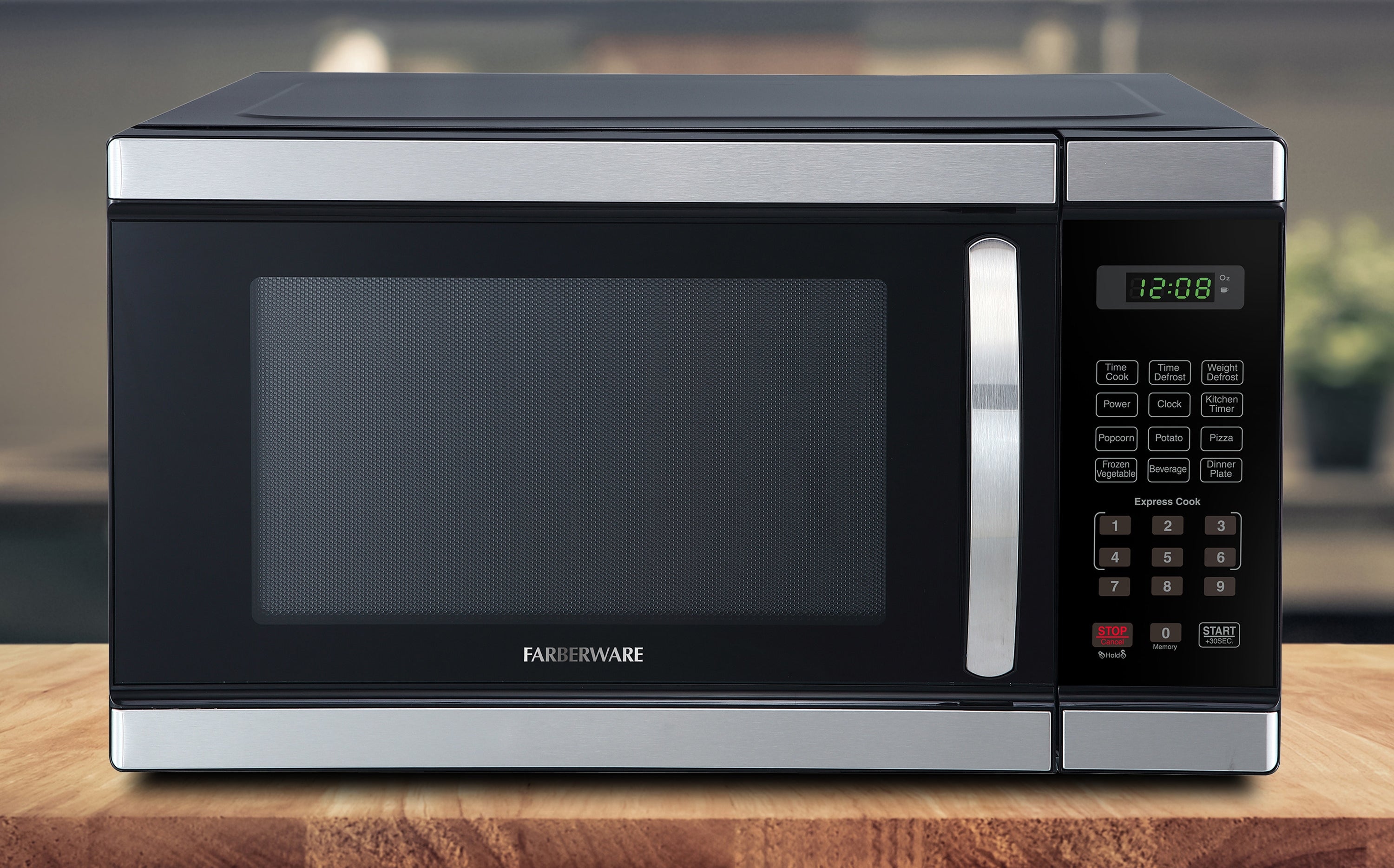 black microwave on a kitchen counter